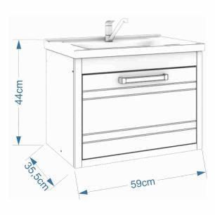 Gabinete De Banheiro 100% Mdf Jade 59 Cm Porta Frizada Branco - Mgm