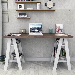 Mesa escrivaninha Self - Nogueira/Branco - Appunto