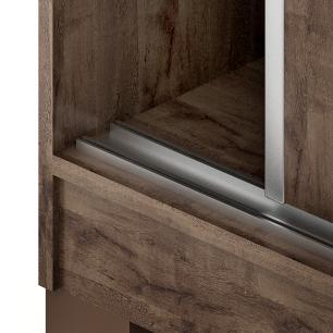 Roupeiro Lara 3 Portas Slide Glass - 100% MDF - Cafe - Panan
