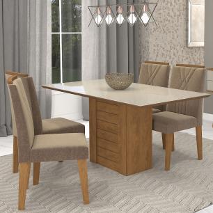 Sala Jantar Rafaela 130cm x 80cm Com 4 Cadeiras Nicole Savana/Off White/Pluma - Cimol