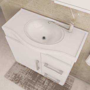 Gabinete De Banheiro 100% Mdf Vix 65 Cm Com Espelho Cafe/Branco - Mgm