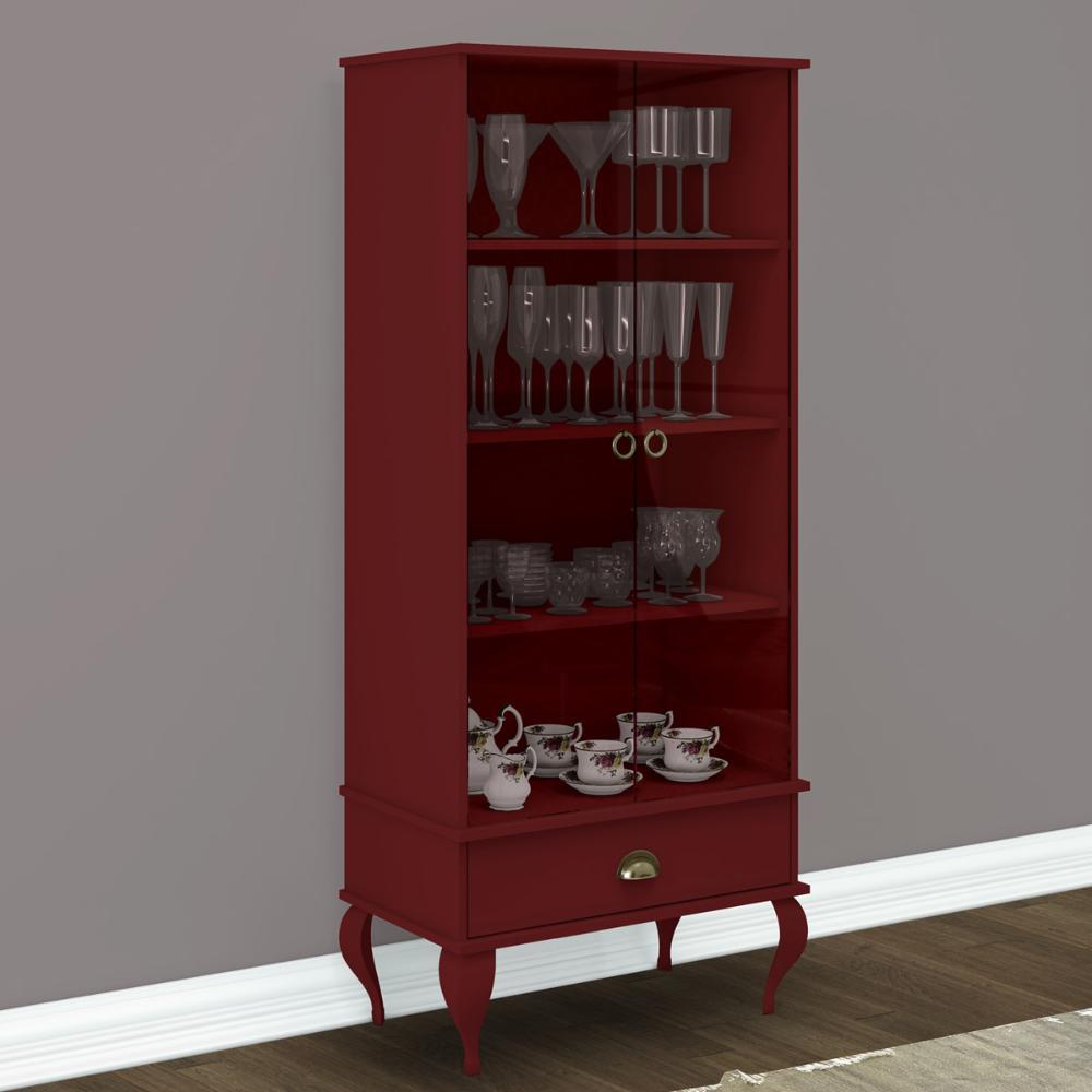 Cristaleira Classica 2 Porta e 1 Gaveta - Vermelho - Movelbento