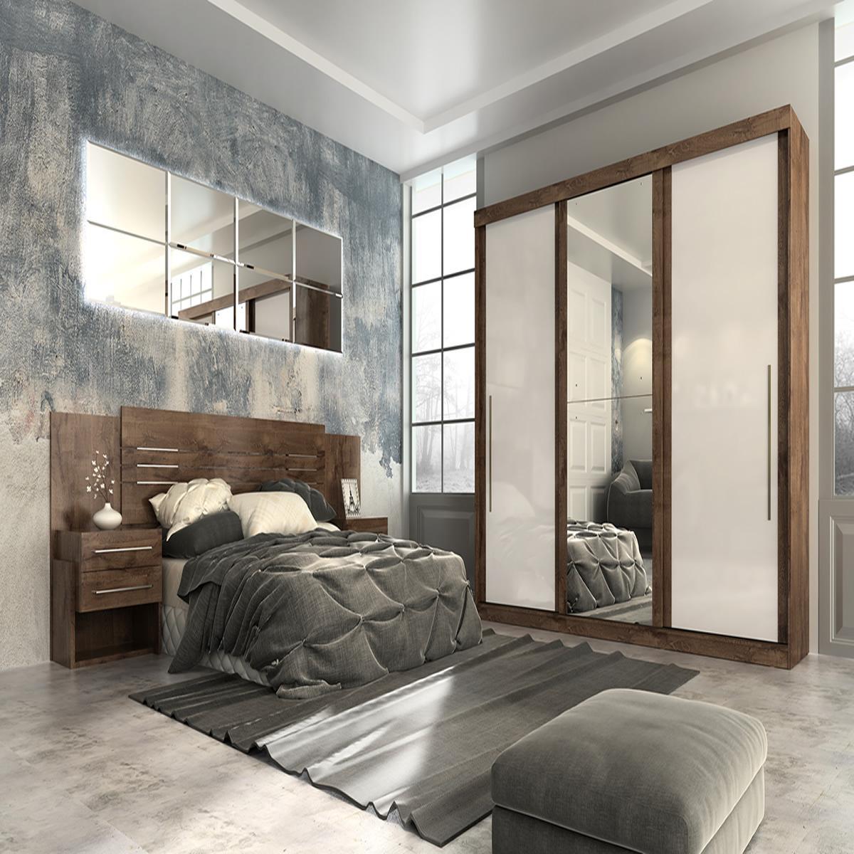 Roupeiro Ravena Plus 3 Portas Slide - 100% MDF - Com Espelho - Café/Café/Off White - Panan