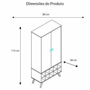 Cristaleira 2 Portas Com Garrafeiro - Rustico - Movelbento