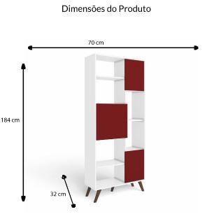 Estante Retro 3 Portas - Branco/Vermelho - Movelbento