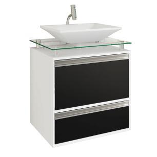 Gabinete De Banheiro 100% Mdf Faro 60 Cm Sobrepor Branco/Preto - Mgm