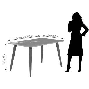 Sala Jantar Adele 130 Cm x 80 Com 4 Cadeiras Milena C/ Moldura Madeira/Off White/Sav/Chocolate - Cimol