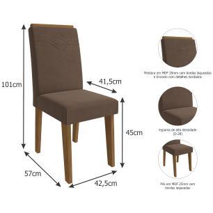 Sala Jantar Ana 95 Cm x 95 Com 4 Cadeiras Tais C/Moldura Savana/Off White/Chocolate - Cimol