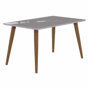 Sala Jantar Adele 130 Cm x 80 Cm Com 4 Cadeiras Vanessa Madeira Maciça/Off White/Aspen - Cimol