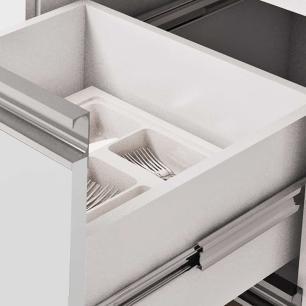 Balcao De Cozinha 100% Mdf Prisma Para Pia 134 Cm Amendoa/Off White - Mgm