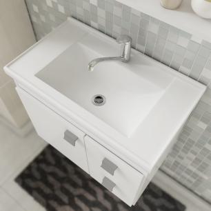 Gabinete De Banheiro 100% Mdf Hortencia 55 Cm Com Espelho Branco/Preto - Mgm