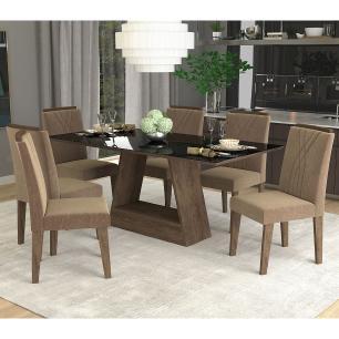 Sala Jantar Alana 180cm x 90cm Com 6 Cadeiras Nicole Marrocos/Preto/Pluma - Cimol
