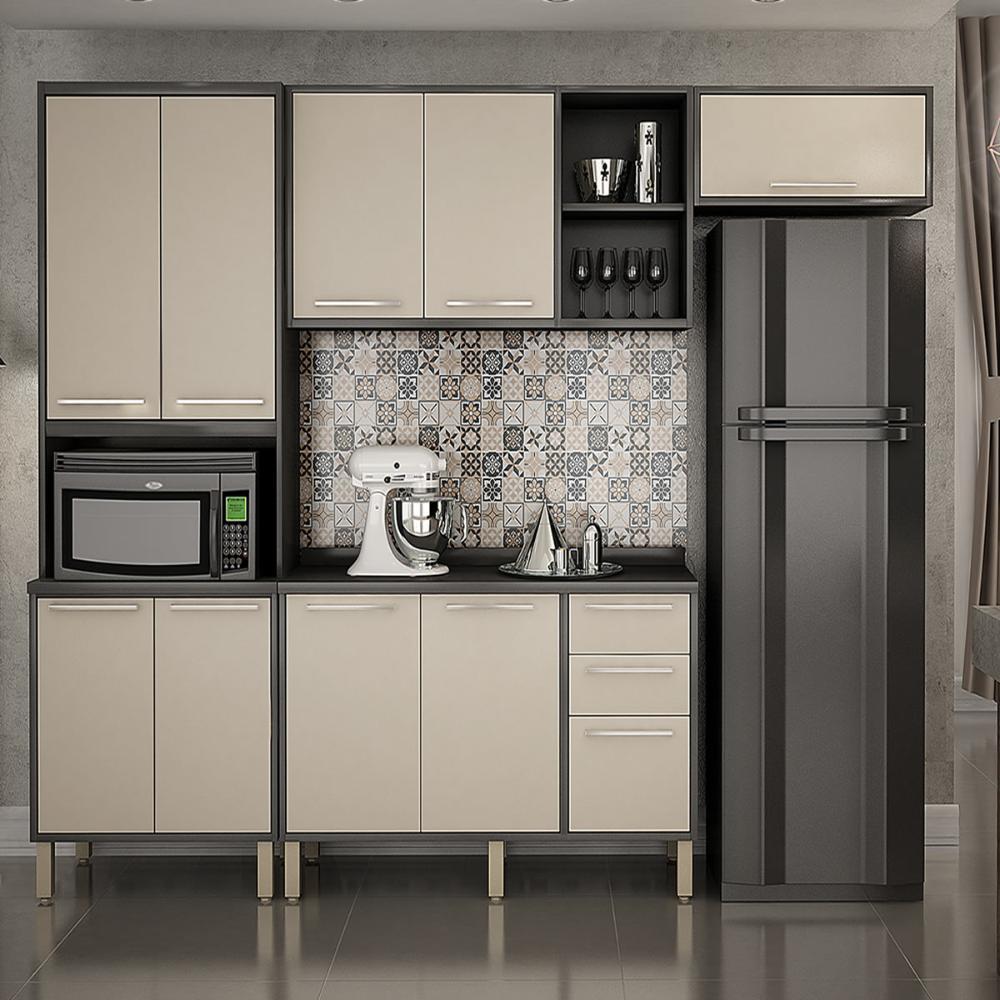 Cozinha 4 Peças Paris 10 - Gravite/Off White - Salleto