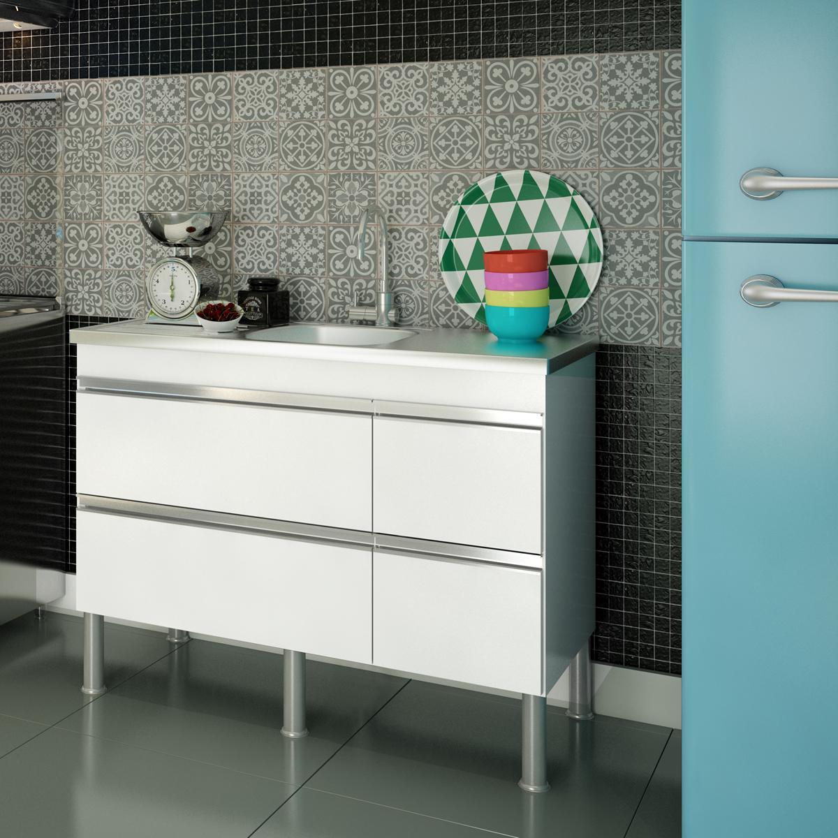 Balcao De Cozinha 100% Mdf Prisma Para Pia 114 cm  - Branco  - Mgm
