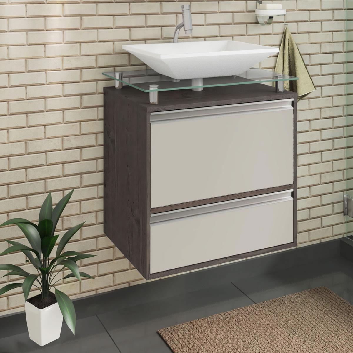 Gabinete De Banheiro 100% Mdf Faro 60 Cm Sobrepor Cafe/Off White - Mgm