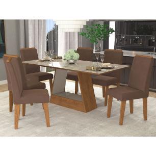 Sala Jantar Alana 180 Cm x 90 Com 6 Cadeiras Milena C/Moldura Savana/Off White/Chocolate - Cimol