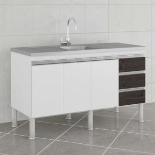 Balcao De Cozinha 100% Mdf Ibiza Para Pia 134 Cm Branco/Café - Mgm
