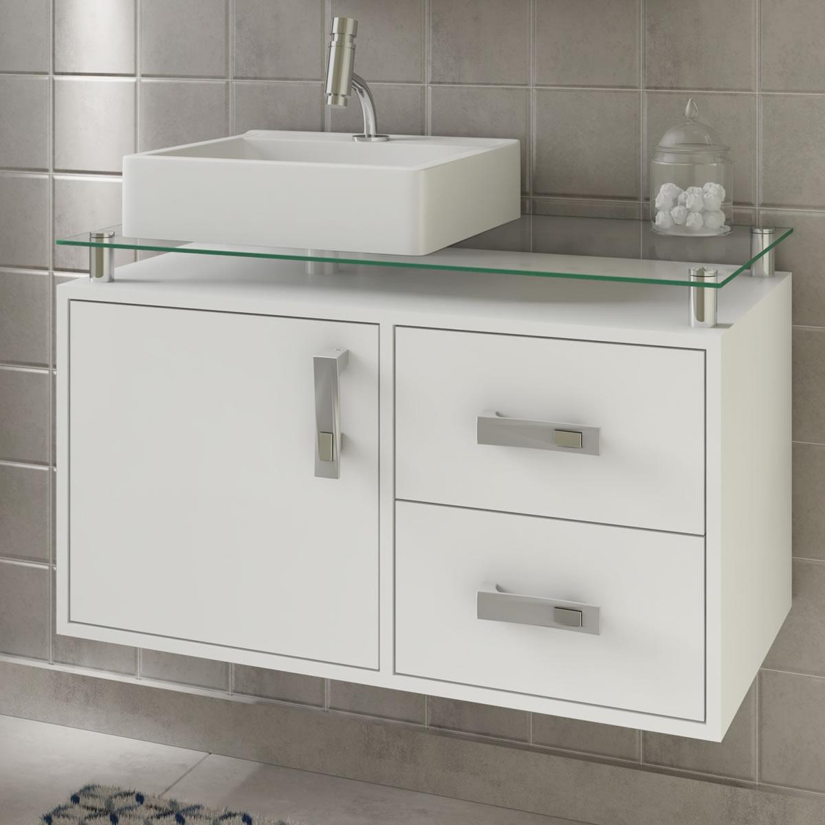 Gabinete De Banheiro 100% Mdf Evora 80 Cm Sobrepor Branco - Mgm