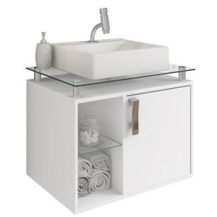 Gabinete De Banheiro 100% Mdf Porto 60 Cm Sobrepor Branco - Mgm