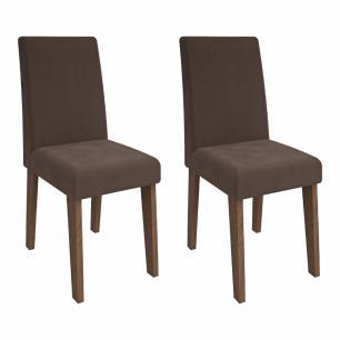 Sala Jantar Rafaela 130cm x 80cm Com 4 Cadeiras Milena Savana/Off White/Chocolate - Cimol