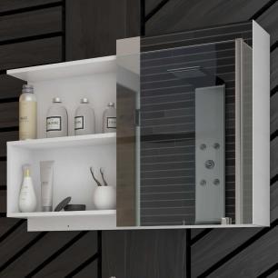 Espelheira para Banheiro 100% MDF Lis 80 Cm Branco - Mgm