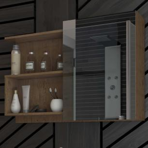 Espelheira para Banheiro 100% MDF Lis 80 Cm Amendoa - Mgm