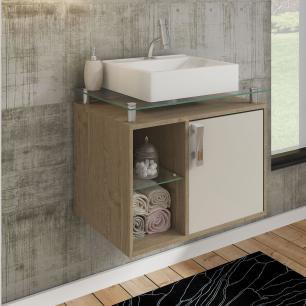 Gabinete De Banheiro 100% Mdf Porto 60 Cm Sobrepor Carvalho/Off White - Mgm