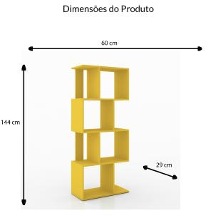 Estante Divisoria 4 Nichos - Amarelo - Movelbento