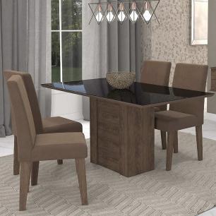 Sala Jantar Rafaela 130cm x 80cm Com 4 Cadeiras Milena Marrocos/Preto/Chocolate - Cimol