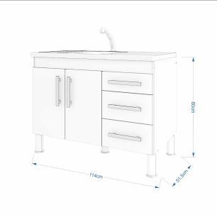 Balcao De Cozinha 100% Mdf Flex 114 Cm Branco/Café - Mgm