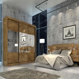 Roupeiro Prada Plus 3 Portas Slide - 100% MDF - Com Espelho - Canela - Panan