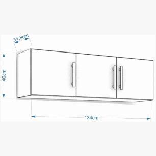Armario De Cozinha Aereo 100% Mdf Flex 134 Cm Amendoa/Branco - Mgm