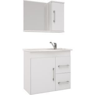 Gabinete De Banheiro 100% Mdf Vix 65 cm Com Espelho - Branco - Mgm