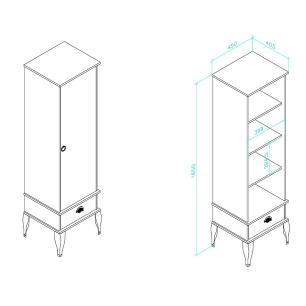 Cristaleira Classica 1 Porta e 1 Gaveta - Branco - Movelbento