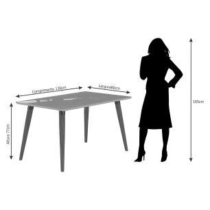 Sala Jantar Adele 130cm x 80cm 4 Cad. Laura - Madeira/Off White/Aspen - Cimol