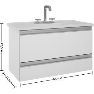 Gabinete De Banheiro 100% Mdf Treviso 79 cm - Branco/Preto - Mgm