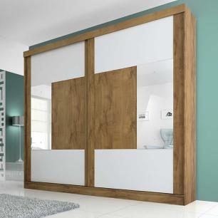 Roupeiro Joinville Slide 2 Portas - 100% MDF - Com Espelho - Canela/Canela/Branco - Panan