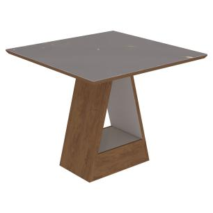Sala Jantar Alana 95 Cm x 95 Com 4 Cadeiras Milena C/Moldura Savana/Off White/Chocolate - Cimol