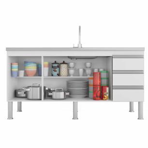 Balcao De Cozinha 100% Mdf Ibiza Para Pia 154 Cm Amendoa/Branco - Mgm