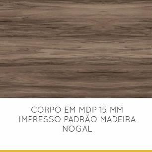 Armario de Cozinha 2 Portas Donna 80 cm - Nogal/Branco - Nesher