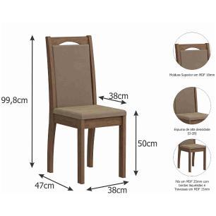 Sala Jantar Sophia 95 Cm x 95 Cm Com 4 Cadeiras Livia Savana/Off White/Sued Marfim - Cimol