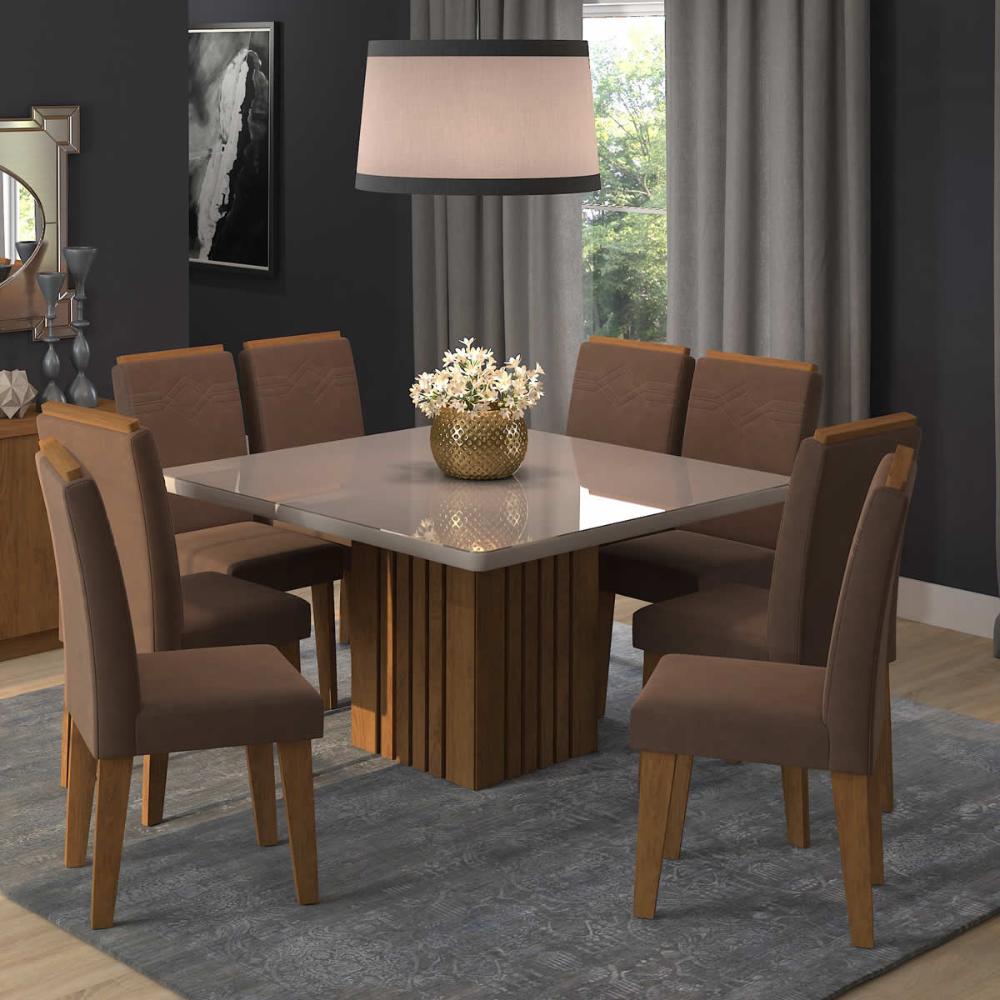 Sala Jantar Ana 130 Cm x 130 Cm Com 8 Cadeiras Tais C/Moldura Savana/Off White/Chocolate - Cimol