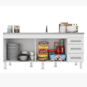 Balcao De Cozinha 100% Mdf Flex 174 Cm Amendoa/Branco - Mgm