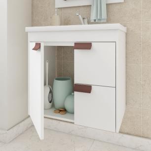Gabinete De Banheiro 100% Mdf Tulipa 59 Cm Com Espelho Branco - Mgm
