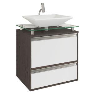Gabinete De Banheiro 100% Mdf Faro 60 Cm Sobrepor Cafe/Branco - Mgm