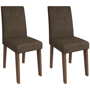 Sala Jantar Andreia 100cm x 100cm Com 4 Cadeiras Milena Savana/Cacau - Cimol - FORA DE LINHA