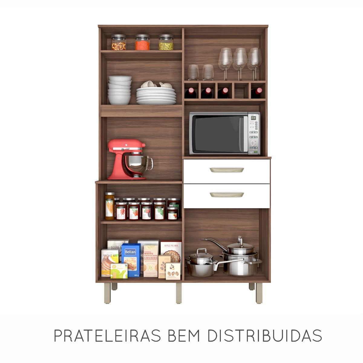 Cozinha Compacta Smart Jr Nogal/Branco - Nesher