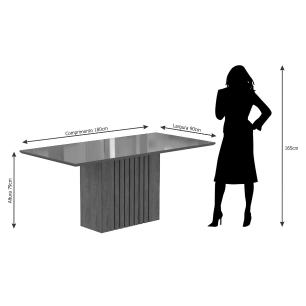 Sala Jantar Ana 180cm x 90cm 6 Cad. Laura - Savana/Off White/Aspen - Cimol