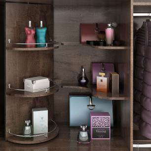 Roupeiro Prada Plus 3 Portas Slide - 100% MDF - Com Espelho - Café/Café/Off White - Panan