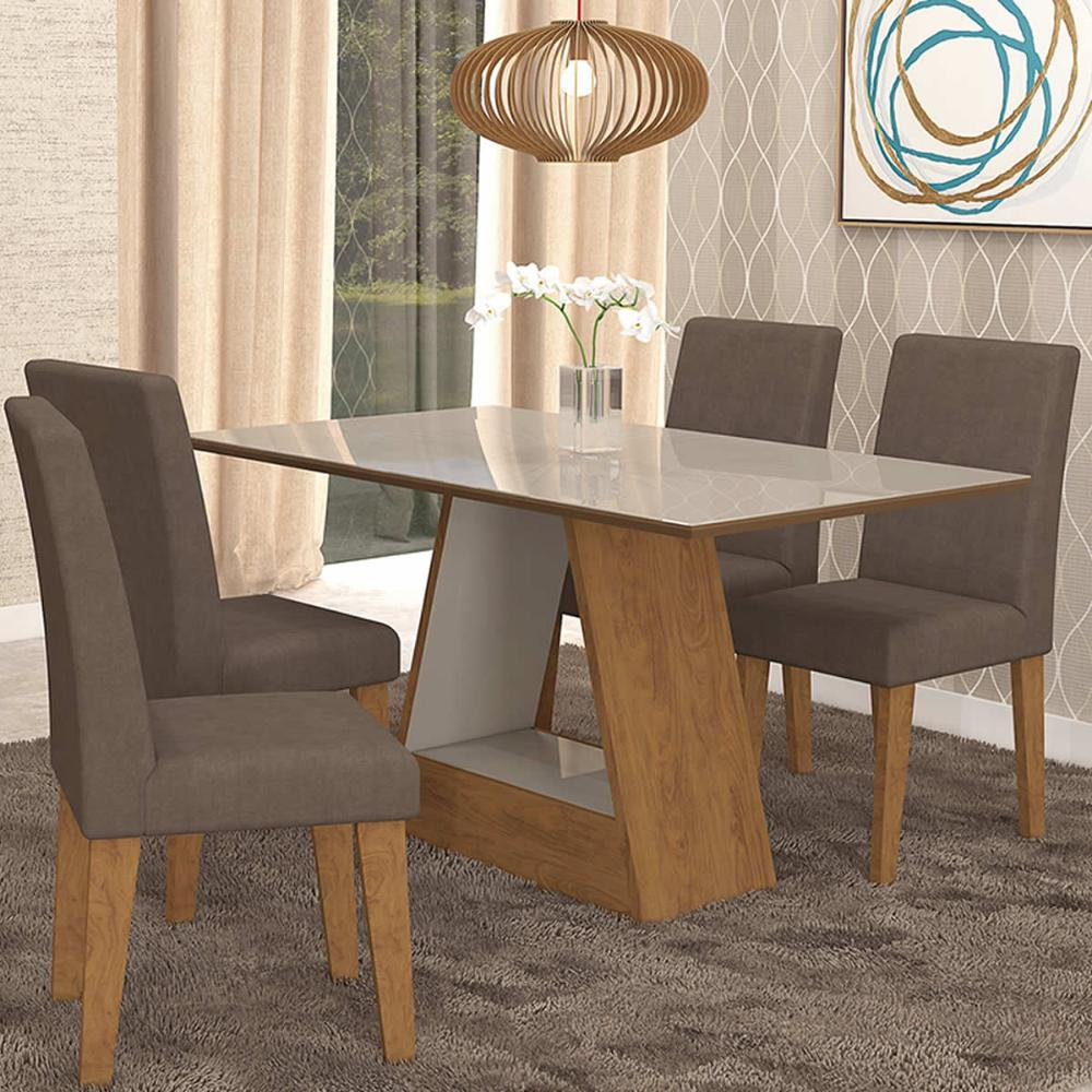 Sala Jantar Alana 130cm x 80cm Com 4 Cadeiras Milena Savana/Off White/Chocolate - Cimol